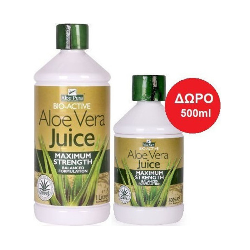 Optima Aloe Pura Aloe Vera Juice Maximum Strength 1000ml & Δώρο 500ml