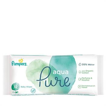 Pampers Pure Aqua Water Baby Wipes Travel Size 12 Μωρομάντηλα