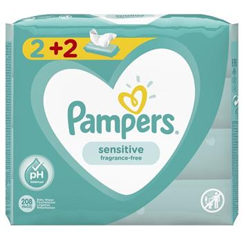 Pampers Pampers Sensitive Baby Wipes 208 Μωρομάντηλα (4 x 52)