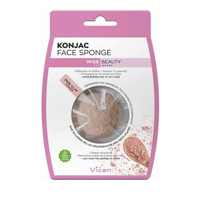 Vican Wise Beauty Konjac Face Sponge Σφουγγάρι με Σκόνη Ροζ Αργίλου 1τμχ