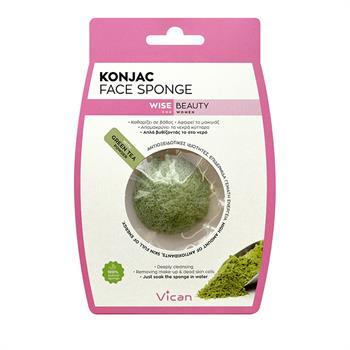 Vican Wise Beauty Konjac Face Sponge Σφουγγάρι Προσώπου με Σκόνη Πράσινου Τσαγιού 1τμχ