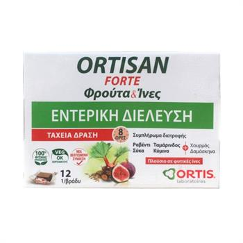 Ortis Ortisan Forte Φρούτα & Ίνες για Εντερική Διέλευση 12 κύβοι