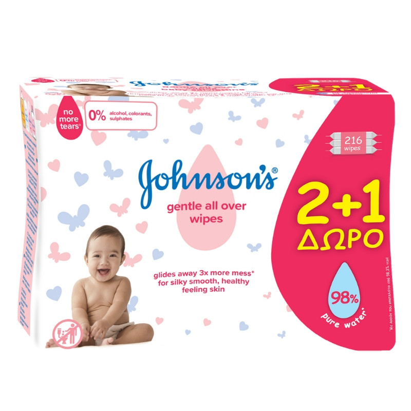 Johnson's Baby Gentle All Over Wipes 2+1 Δώρο 3x72τμχ