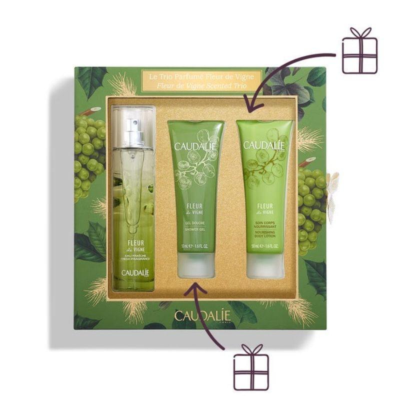 Caudalie Fleur de Vigne Scrented Trio Set Fresh Fragrance 50ml + ΔΩΡΟ Shower Gel 50ml + Nourishing Body Lotion 50ml