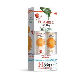 Power Health Vitamin C 1000mg Μήλο με Στέβια 24 αναβράζοντα δισκία & Vitamin C 500mg Πορτοκάλι 20 αναβράζοντα δισκία