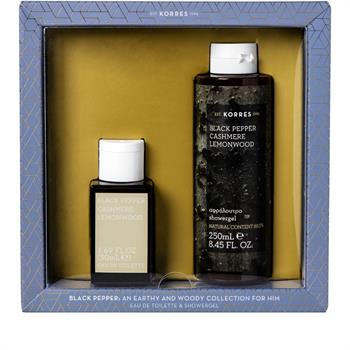 Korres Set For Him Blαck Pepper Cashmere Lemonwood Eau De Toilette 50ml & Cashmere Lemonwood Showergel 250ml