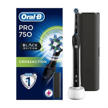 Oral-B Pro 750 CrossAction 3D Black Edition & ΔΩΡΟ Μαύρη Θήκη Ταξιδιού