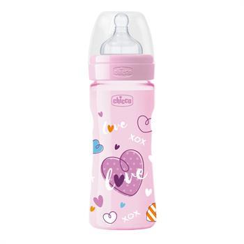Chicco Well-Being Πλαστικό Μπιμπερό με Θηλή Σιλικόνης 2m+ Μέτρια Ροή Ροζ 250ml