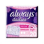 Always Dailies Fresh Scent Singles To Go Normal Σερβιετάκια 20τμχ