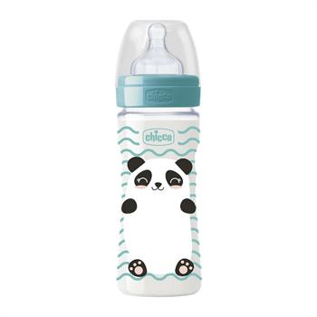 Chicco Πλαστικό Μπιμπερό Well-Being Pop Friends Πράσινο Panda Θηλή Σιλικόνης Γρήγορη Ροή 4m+ 330ml (09502-00)