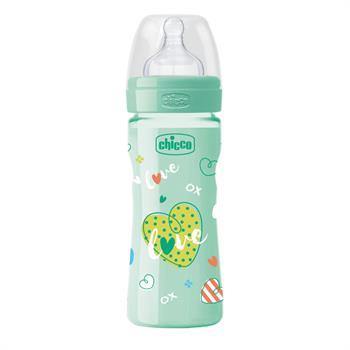 Chicco Well-Being Πλαστικό Μπιμπερό Unisex Green Θηλή Σιλικόνης Μέτρια Ροή 2m+ 250ml (020623-33)