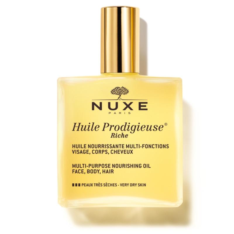 Nuxe Huile Prodigieuse Rich - Πλούσιο Ξηρό Ενυδατικό Λάδι για Πρόσωπο, Σώμα & Μαλλιά για Ξηρές Επιδερμίδες 100ml
