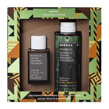 Korres Set Mountain Pepper Bergamot Coriander Eau De Toilette 50ml & Shower Gel 250ml