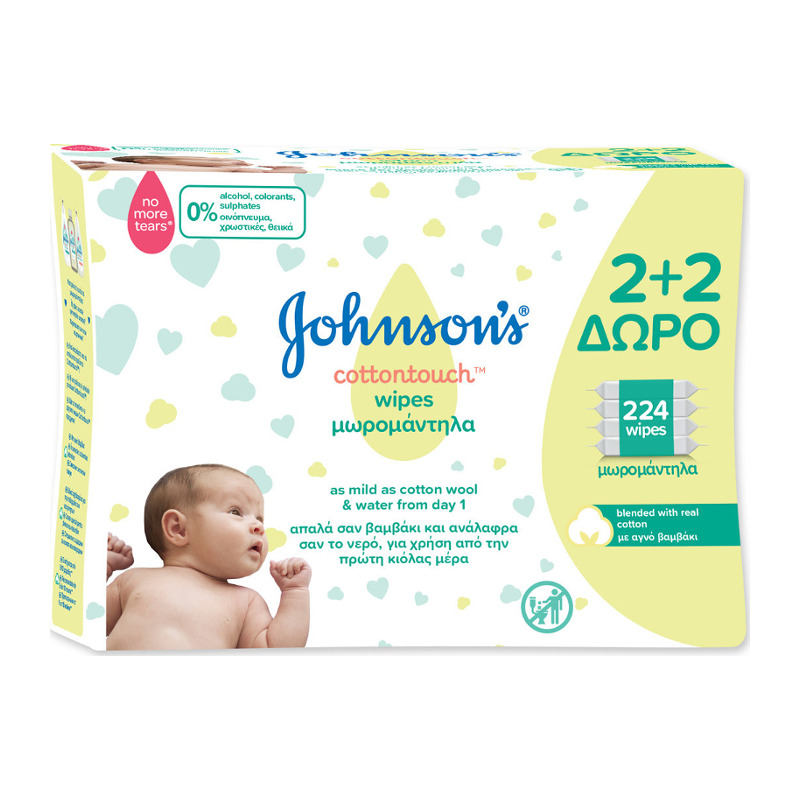 Johnson's Baby CottonTouch Wipes (2+2 ΔΩΡΟ) 4X56 Μωρομάντηλα