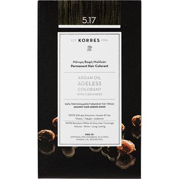 Korres Argan Oil Ageless Colorant Νο 5.17 Μόνιμη Βαφή Μαλλιών Καστανό Ανοιχτό Μπεζ 50ml