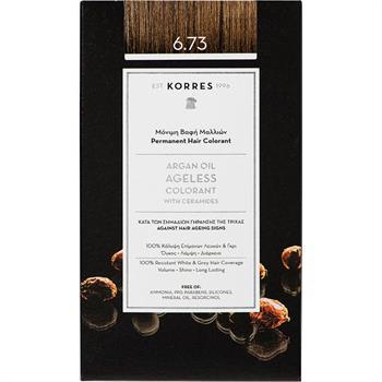 Korres Argan Oil Ageless Colorant No6.73 Μόνιμη Βαφή Μαλλιών Χρυσό Κακάο 50ml