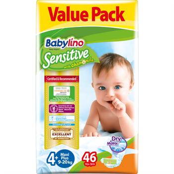 Babylino Maxi Plus Νο.4+ (9-20 kg) Value Pack Απορροφητικές & Πιστοποιημένα Φιλικές Βρεφικές Πάνες 46τμχ