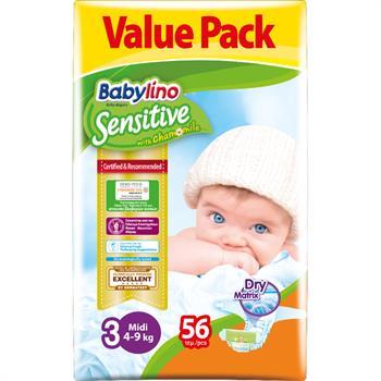 Babylino Midi Nο.3 (4-9 kg) Value Pack Απορροφητικές & Πιστοποιημένα Φιλικές Βρεφικές Πάνες 56τμχ