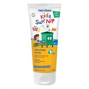 Frezyderm Kids Sun Nip Spf50+ Παιδικό Αντηλιακό Γαλάκτωμα για Πρόσωπο & Σώμα με Εντομοαπωθητικούς Παράγοντες 175ml