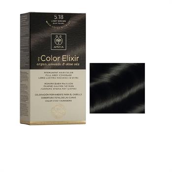 Apivita Color Elixir Βαφή Μαλλιών Καστανό Ανοιχτό Σαντρέ Περλέ 5.18