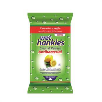 Wet Hankies Antibacterial Μαντηλάκια Αντιβακτηριδιακά με Αιθυλική Αλκοόλη και Άρωμα Λεμόνι 15τμχ