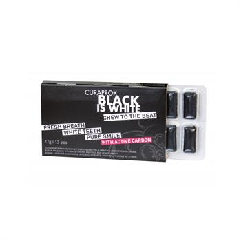 Curaprox Black Is White Τσίχλες με Ενεργό Άνθρακα 12τμχ