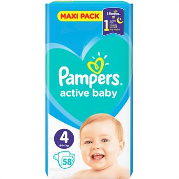 Pampers Active Baby Maxi No 4 (9-14kg) 58 Πάνες Μωρού