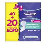Always Dailies Fresh & Protect Normal 40+20τμχ