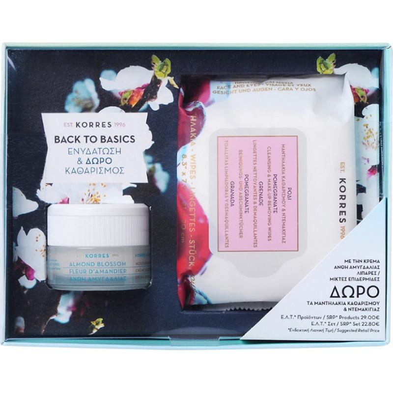 Korres Almond Blossom Κρέμα για Λιπαρές Μικτές Επιδερμίδες 40ml & Μαντηλάκια Καθαρισμού Ρόδι 25τμχ
