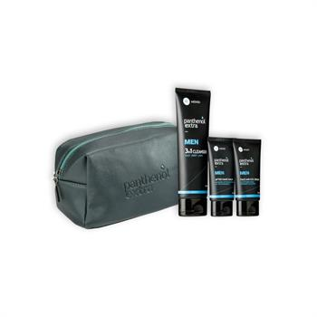 Panthenol Extra Men Gift for Him Grey, Face & Eye Cream 75ml & After Shave Balm 75ml & Cleanser 3 in 1 200ml