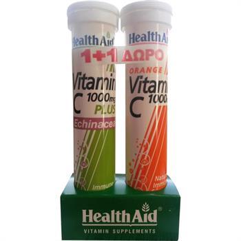 Health Aid Vitamin C 1000mg Plus Echinacea 20 αναβράζοντα δισκία & Vitamin C 1000mg 20 αναβράζοντα δισκία