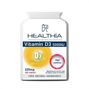 Healthia Vitamin D3 5000IU 225mg 100tabs
