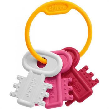 Chicco Κουδουνίστρα & Μασητικό Χρωματιστά Κλειδιά Ροζ 3m+ 63216-10