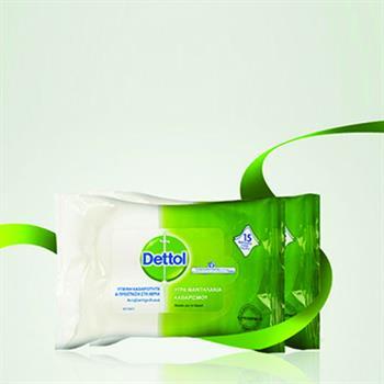 Dettol Wipes Αντιβακτηριδιακά Υγρά Μαντηλάκια Καθαρισμού 15τμχ