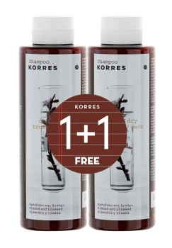 Korres Πακέτο Προσφοράς 1+1 Σαμπουάν με Αμύγδαλο και Λινάρι για Ξηρά και Αφυδατωμένα Μαλλιά, 250ml