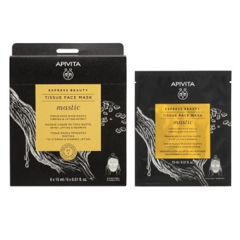 APIVITA EXPRESS BEAUTY Tissue Μάσκα Προσώπου Μαστίχα Σύσφιξη & Αίσθηση Lifting 15ml