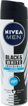 Nivea Deo Black & White Invisible Active Spray Ανδρικό 150ml