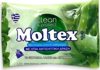 Moltex Μαντηλάκια Με Ήπια Αντισηπτική ΔράσηΠεριέχουν Εκχυλίσματα Αλόης και Δίκταμο