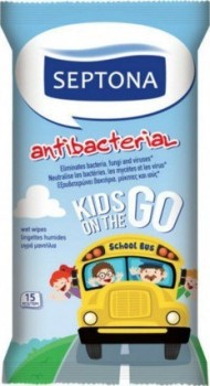 Septona Antibacterial wipes for  Kids On Go 15τμχ