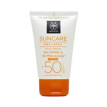 Apivita Suncare Anti-Spot Face Cream Tinted - Κρέμα Κατά Των Πανάδων Με Χρώμα SPF 50, Με Κρίταμο (Sea Fennel) + 3D PRO-ALGAE 50ml