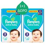 Pampers Active Baby Dry Maxi Pack No 3 (6-10kg) 66τμχ 1+1 ΔΩΡΟ