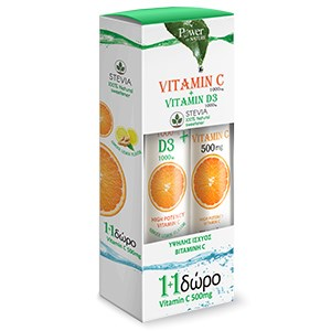 Power Health Vitamin C1000mg & Vitamin D1000IU Stevia 24 eff tabs & Δώρο Vitamin C 500 mg 20 eff tabs