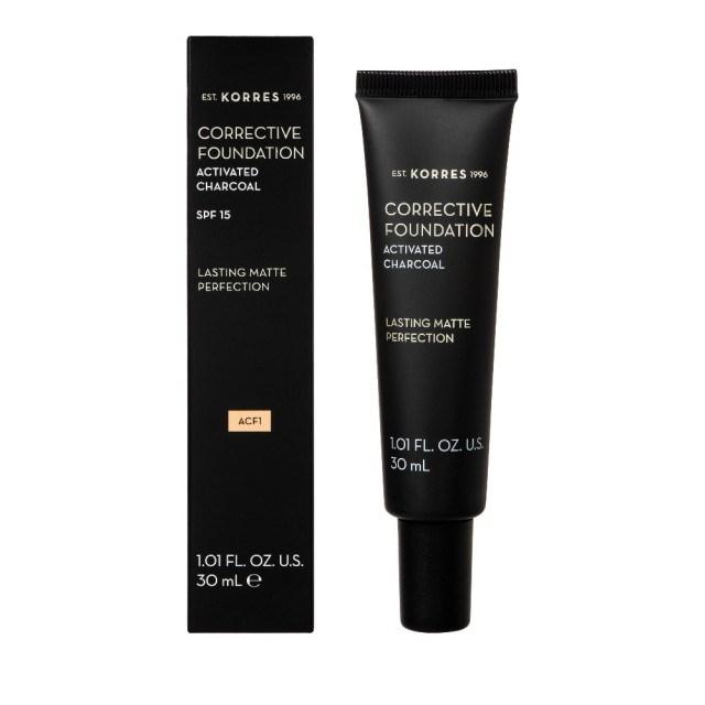 Korres Corrective Foundation Spf 15 / Acf1 με Ενεργό Άνθρακα - Διορθωτικο Make Up Για Μετριες Ατελειες 30ml