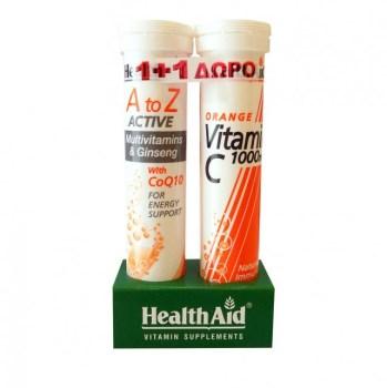 Health Aid Α to Ζ Αctive Πολυβιταμίνες με Τζίνσενγκ & Συνένζυμο Q10, 20 eff.tabs & Vitamin C 1000mg Πορτοκάλι, 20 eff.tabs