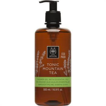 Apivita Tonic Mountain Tea Shower Gel Eco Pack, Αφρόλουτρο με Περγαμόντο & Πράσινο Τσάι, 500ml