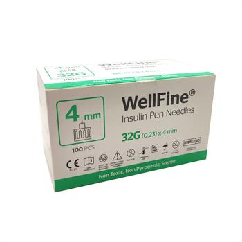 WellFine Insulin Pen Needles 32G (0.23) x 4 mm 100 τμχ