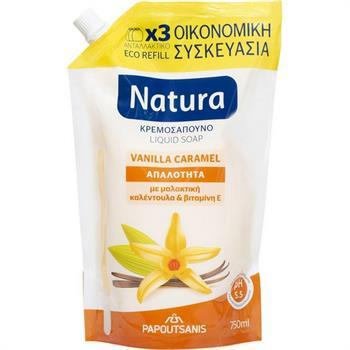 Papoutsanis Natura Vanilla + Caramel Soap Refill 750ml