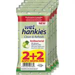 Mega Disposables Wet Hankies Clean + Refresh Antibacterial Green Apple 2 + 2 Δώρο 60τμχ