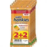 Mega Disposables Wet Hankies Clean + Refresh Antibacterial Orange 2 + 2 Δώρο 60τμχ