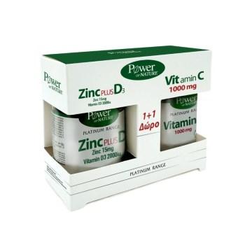 Power Health Platinum PROMO Zinc Plus D3 30 Κάψουλες & Δώρο Vitamin C 1000mg 20 Δισκία